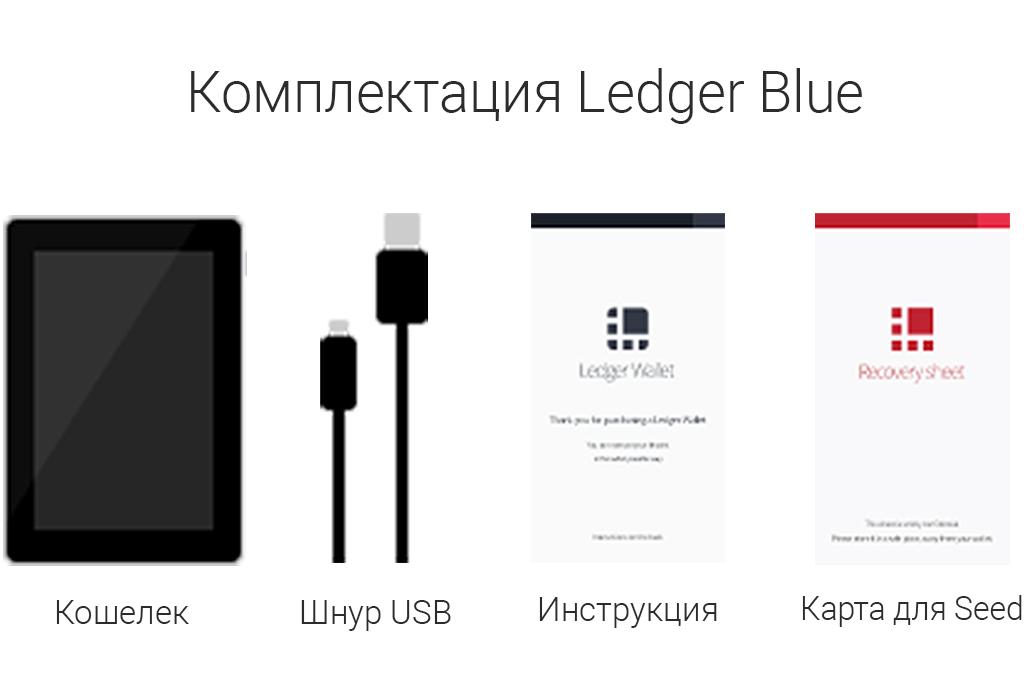 Комплектация кошелька для криптовалют Ledger Blue