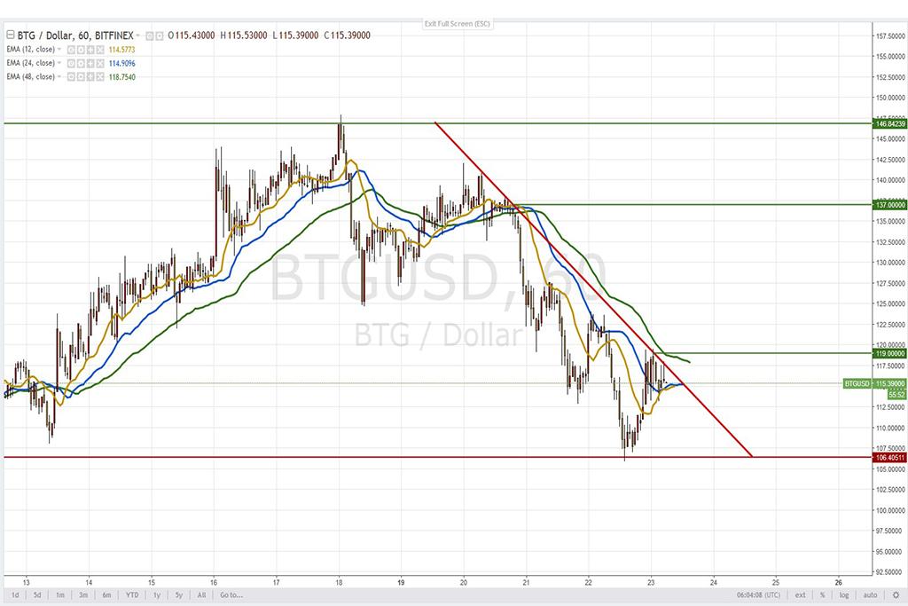 Анализ криптовалют на 23.02.2018: пара BTG/USD